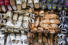 Leather shoes at traditional market. Leather shoes at traditional market Royalty Free Stock Photos