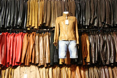 Leather shop. Some leather jacket in a shop Royalty Free Stock Photo