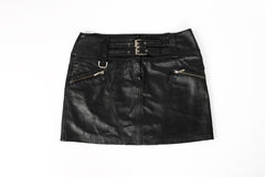 Leather short skirt. Womens, leather short skirt on a white background Royalty Free Stock Photo