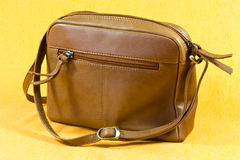 Leather shoulder bag Stock Photo