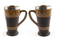Leather, silver and wood goblet cup Royalty Free Stock Photography