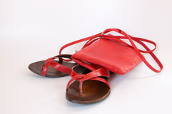 Leather slippers and handbag Stock Images