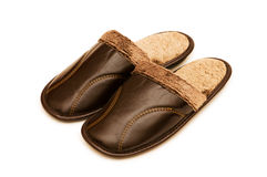 Leather slippers isolated Stock Photography