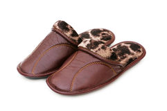 Leather slippers isolated Stock Image