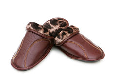 Leather slippers isolated Royalty Free Stock Images