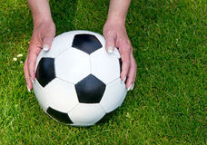 Leather soccer ball Royalty Free Stock Image