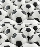 Leather soccer balls - 2 versions, one with depth of field effect and one without. 3d rendering Royalty Free Stock Photography