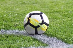 Leather soccer or football  ball Stock Image