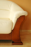 Leather sofa. White leather sofa close up Stock Photography