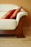 Leather sofa. White leather sofa close up Royalty Free Stock Photo