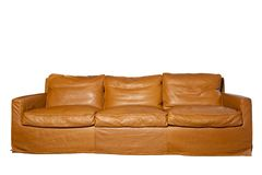 Leather sofa. Brown leather sofa on the white background Royalty Free Stock Photo