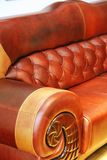 Leather sofa. Partial view of a classic brown leather sofa Stock Photo