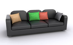 Leather sofa. Black leather sofa with cushions on a white background (3d render&#x29 Stock Images
