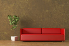 Leather sofa. Modern red leather sofa with tree render Stock Photography