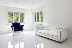 Leather sofa, armchair classical. In white room Stock Images