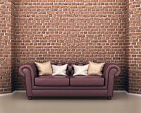 Leather sofa on a background of a brick. 3d illustration Stock Images