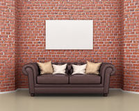 Leather sofa on a background of a brick wall, Royalty Free Stock Images