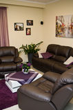 Leather sofa and chairs in a living room Royalty Free Stock Photo