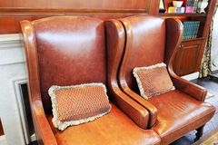 Leather sofa with cushion. The brown leather sofa with cushion stock images