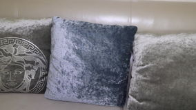 Leather sofa with cushions. Apartment Interior. stock video