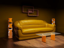 Leather sofa in a dark room Stock Photos