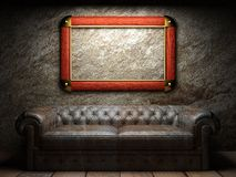 Leather sofa and frame in dark room. Made in 3D Stock Photo