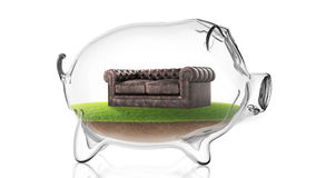 Leather sofa inside transparent piggy bank. 3d rendering. Conceptual image of a transparent piggy bank with a leather sofa inside. 3d rendering Stock Images