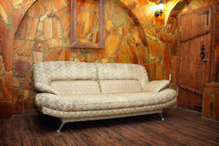 Leather sofa in the interior Stock Images