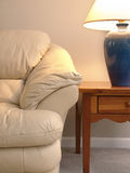 Leather Sofa with Lamp End Table Stock Photos