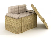 Leather sofa in an open box. Royalty Free Stock Photo