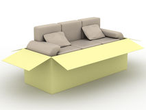 Leather sofa in a packing box. Royalty Free Stock Photography