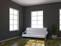 Leather sofa and plant Stock Photo
