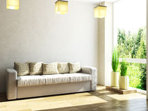 Leather sofa and plants Royalty Free Stock Photos