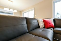 Leather sofa seating closeup Royalty Free Stock Photography