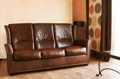 Leather sofa and table Royalty Free Stock Photo