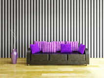Leather sofa with violet pillows Stock Photos