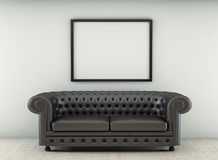 Leather sofa in white room with wood floor. 3d render. Ing Royalty Free Stock Photos