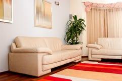 Leather sofas. Elegant modern leather sofas and colorful carpet Royalty Free Stock Photos