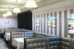 Leather sofas in restaurant of Neva cinema Stock Image