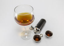 Leather and Steel Cognac Flask Stock Image