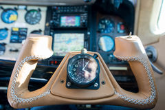 Leather steering throttle wheel aircraft Royalty Free Stock Photo