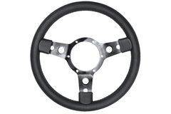 Leather steering wheel isolated Royalty Free Stock Photos