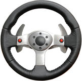 Leather steering wheel play on a white background Stock Images