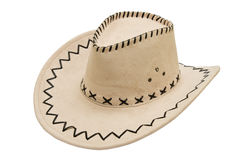 Leather stetson. Hat isolated over white background Royalty Free Stock Photo