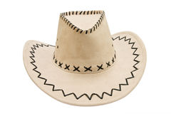 Leather stetson. Hat isolated over white background Stock Photography
