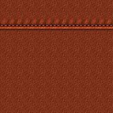 Leather with stitching. Realistic leather texture with a seam. Brown leather background with stitching. Vector illustration stock illustration