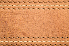 Leather Strap Closeup. Close up of leather belt or strap with multiple stitches for backdrops or abstract stock images