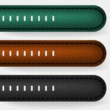 Leather strap on a wristwatch. Black, brown and green leather royalty free stock photo