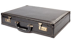 Leather suicase. Leather manager suitcase on white background Stock Photos
