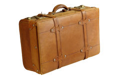 Leather suitcase. Stylish old leather suitcase that makes you think of the bygone era of travel stock image
